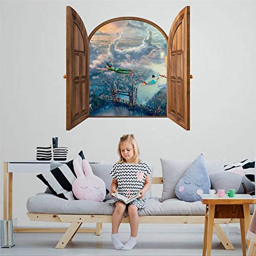 DONL9BAUER Fairy Land London Vinyl Stickers Removable Wall Decor Nature Window Frame 90cm 3D Smashed Wall Art Mural Poster Home Decal Skin for Kids Nursery Bedroom Living Room
