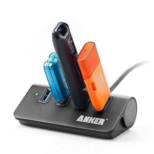 Anker Aluminum USB 3.0 4-Port Hub, Hub mit 0.6 m USB 3.0 Kabel designt für Apple MacBook, Macbook Air, Macbook Pro, MacMini, iMac, und weiteren USB 3.0 Geräten (Schwarz)