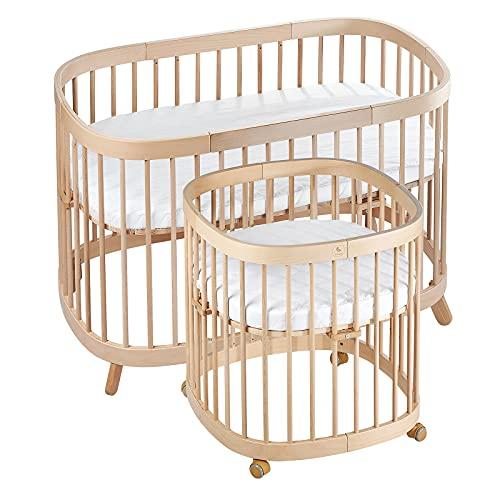 tweeto® Cuna 7 en 1 (plus) CONJUNTO TODO EN UNO │CUNA ampliable hasta 10 funciones con colchón transpirable │ Cama de madera de haya para bebés y niños (haya)