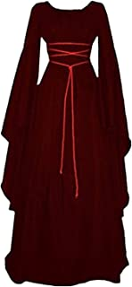 Medieval Crew Neck Polyester Costume Party Masquerade Irregular Cosplay Mid Waist Maxi Solid Halloween