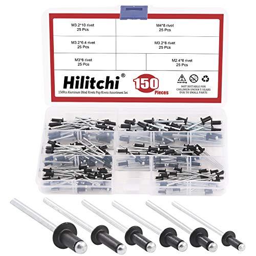Hilitchi Blind Rivets Pull Rivets Aluminium Rivet Black Decoration Pop Rivets Core (Assortment Kit-150PCS)