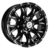 Viking Series Machined Lip Gloss Black Aluminum HD Trailer Wheel with Chrome Cap - 16' x 6.5' 8 On 6.5-4450 LB Load Carrying Capacity - 0 OffsetTrailer Use Only