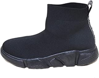 Space Girl Shoes Fabric Socks Ankle Slip-on Type Boots (6.5, All Black)