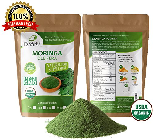 Moringa Oleifera Leaf Powder Organic 4oz 1/4lb. Non GMO multivitamin for metabolism, weight, protein & mood boost: in smoothies & shakes: vegans & vegetarian: iron & amino acids supplements