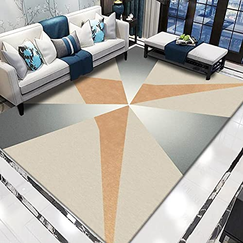 Alfombra De Impresión Geométrica Moderna Impermeable Antideslizante Alfombra Gruesa Lavable Adecuada para Sala De Estar Mesa De Café Dormitorio