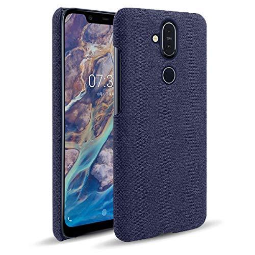 SHUNDA Capa para Nokia 8.1 (Nokia X7), capa de proteção ultrafina de tecido de feltro antiimpressão digital para Nokia 8.1 (Nokia X7) - azul