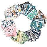 GOTONE 56piezas Tela de algodón para manualidades, Telas Patchwork de Algodón para Tejido Costura Pelusas DIY Artcraft Trabajo Álbumes de Recortes, 25x25cm (Animales y florals)