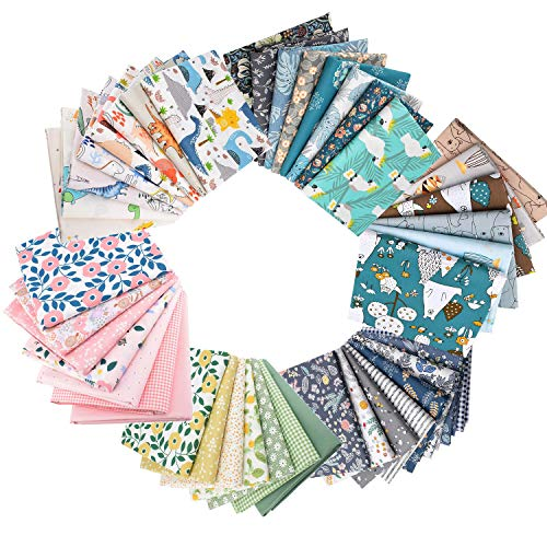 GOTONE 44 PCS Coton Craft Quilting Fabric Patchwork, Carrées de tissu patchwork...