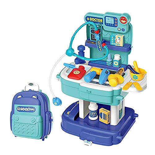 Mingbai Doctor Kit for Kids, 31Pcs Pretend Medical Doctor Medical Playset with Electronic Stethoscope, Medical Kits Gift, Educational Doctor Toys for Toddler Boys Girls (Blue)