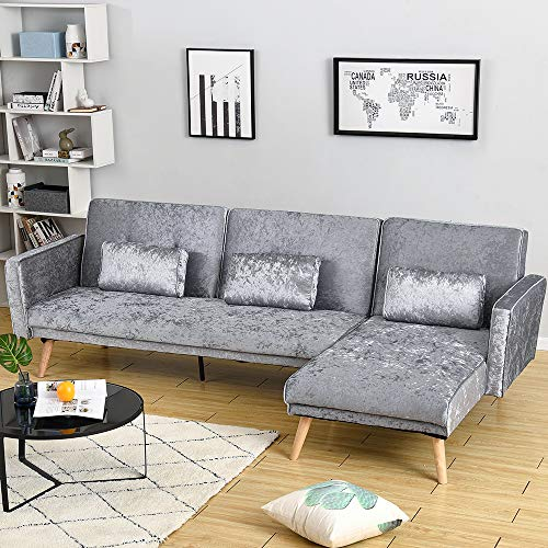 Panana 3 Seater Sofa Bed Ice Velvet Fabric Sofa L Shaped Corner Sofa Bed Left or Right Hand Side Chaise Couch Settee Modern Recliner Chair for Living Room Lounge Office Guest Room