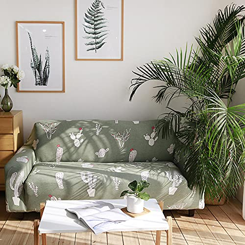 Funda Sofa 4 Plazas Chaise Longue Verde Claro Fundas para Sofa con Diseño Universal,Cubre Sofa Ajustables,Fundas Sofa Elasticas,Funda de Sofa Chaise Longue,Protector Cubierta para Sofá