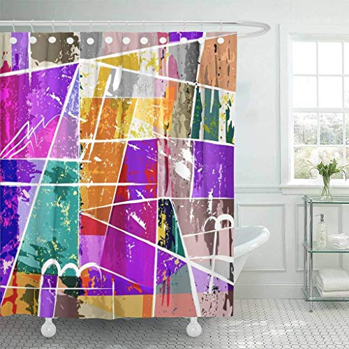NISENASU Shower Curtain,Green Modern Abstract Composition Paint Strokes Splashes and Squares Orange Artistic,Waterproof Bath Curtains Polyester Shower Curtains Art Deco with 12 Hooks 180x180cm
