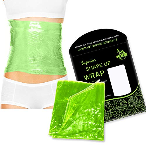 Premium Reusable Shape Up Wrap by EHM - Boost The Effects of Your Herbal Body Applicator - for Smooth Skin & Toned Stomach - Reduces Cellulite & Stretch Marks - Detox & Lose Inches (1)