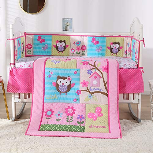 Wowelife Baby Bedding Pink 7 Piece Owl Floral Baby Bed Set 100% Cotton,Pink(Pink C)