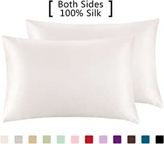 YANIBEST Pillow Cases 2 Pack 100% Mulberry Silk Pillowcase for Hair and Skin with Hidden Zipper (Queen Pillowcase Set of 2, White)