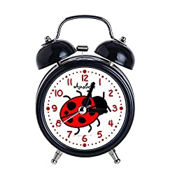 Children's Alarm Clock Vintage Retro Silent Pointer Clocks Round Number Dual Bell Loud Black Alarm Clock Bedside Night Light Home Decors Big Ladybug Cute Personalized Kids Watch for Girl