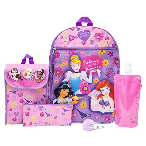 Disney's Princess Backpack Combo Set - Girls' 6 Piece Backpack Set (Pink)