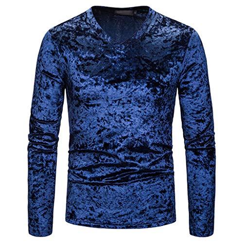 DNOQN Langarm Polo Herren Stylische T Shirts Mode Persönlichkeit Männer Beiläufig Senior Revers Diamant Samt T-Shirt Top Bluse XXL