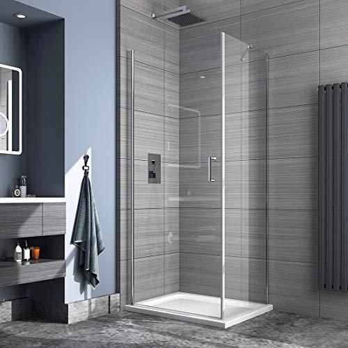 Safeni Duschkabine pendeltür, 76x80cm Duschabtrennung ohne Duschtasse Dusche pendeltür Rahmenlos mit 6mm Nano-Tech ESG Klares Sicherheitsglas, Höhe:195cm