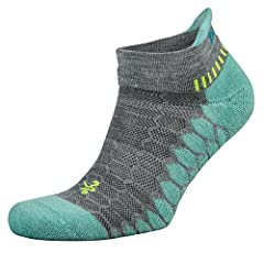 Compression fit, no show performance running sock encapsulates antibacterial silver ions in the yarn to keep feet clean, dry, and odor free Drynamix polyester blend features fibers and knit patterns of varying tension to provide compression and suppo...