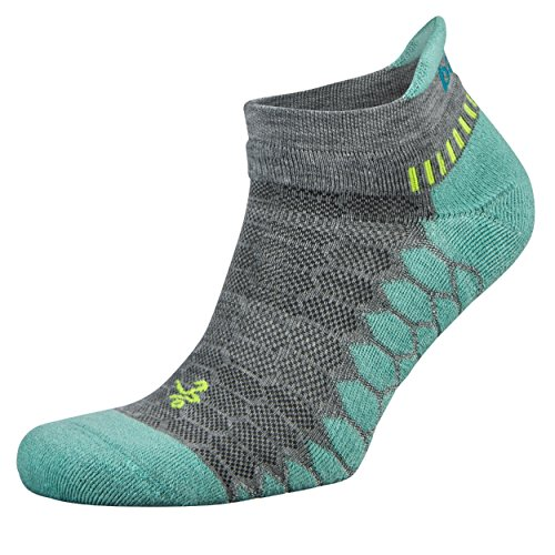 Balega Silver Antimicrobial No-Show Compression-Fit Running Socks for Men and Women (1-Pair), Midgrey/Aqua, Medium