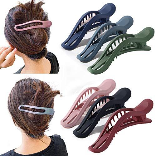 6 pinzas para el pelo sin deslizamientos, resistentes y curvas, duraderas, diseño de cocodrilo