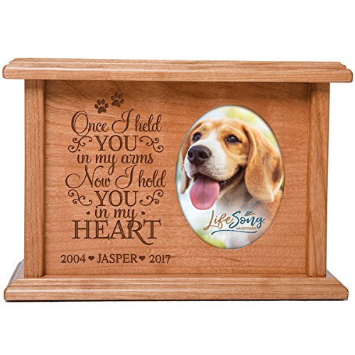 LifeSong Milestones Personalized Pet Cremation Keepsake Urn Box Holds 2x3 Photo Cherry Wood Engraved Urn and Picture Frame for Loss of Dog and Cat Bereavement Gift for Pet Lover Once I held You