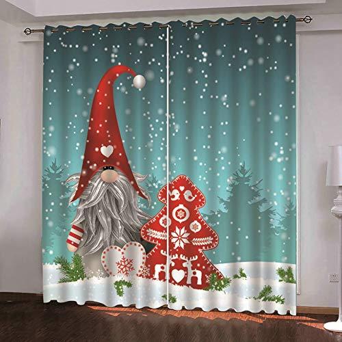 ANAZOZ 2 Cortinas Dormitorio Opaca Cortina Poliester Habitacion Papá Noel Árbol de Navidad y Copo de Nieve Azul Claro Rojo Blanco Cortinas para Dormitorio Tamaño 264x244CM