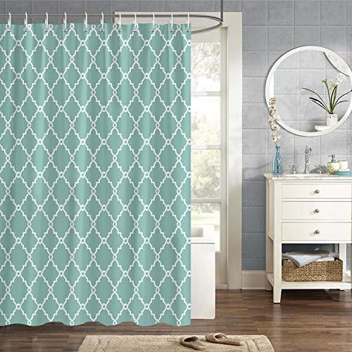 Bonhause Duschvorhang 180 x 180 cm Geometrische Muster Grün Modern Duschvorhänge Anti-Schimmel Wasserdicht Polyester Stoff Waschbar Bad Vorhang für Badzimmer mit 12 Duschvorhangringen