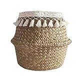 Cesta de almacenamiento tejida natural plegable para el hogar cesta de almacenamiento para ropa juguetes cosméticos planta paja cesta