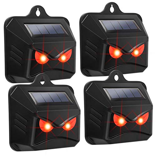 Thanos Nighttime Animal Deterrent Light Solar Powered Nocturnal Animal Repeller with Bright Strobe LED Lights Scare Skunk Coyote Weasel Wolf Away for Garden Chicken Coop Orchards Livestock (4 Pack)