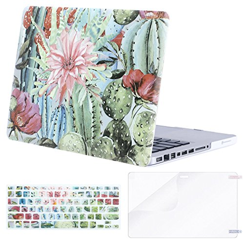 MOSISO Plastic Pattern Hard Case&Keyboard Cover&Screen Protector Only Compatible with Old Version MacBook Pro 13 inch (A1278, with CD-ROM) Release Early 2012/2011/2010/2009/2008, Cactus Flower
