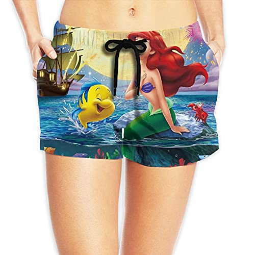 YGHIHW Pantalones cortos de playa para mujer, de dibujos animados, para verano, natación, surf, vacaciones, yoga, deporte, entrenamiento, con bolsillo