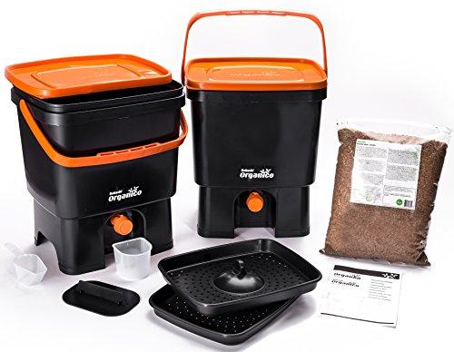 Bokashi Organico Doppelsystem - innovativer Bio Abfalleimer für Küchenabfälle und Kompost (Schwarz / Orange)