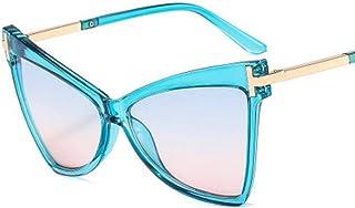 QPRER - Gafas De Sol,Marco Azul Lente Azul Moda para Mujer Forma De Ojo De Gato para Mujer Gafas De Sol con Personalidad Europea Americana Gafas De Sol Decorativas En Forma De T Gafas De Sol De Playa
