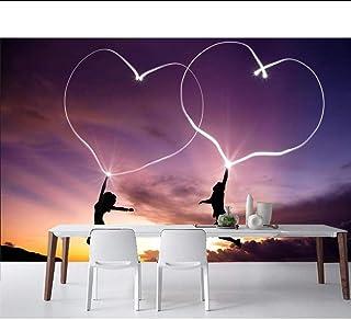 باريد عيد الحب اثنين من القلب ليلة الوقت خلفية رومانسية ، غرفة المعيشة أريكة التلفزيون جدار غرفة نوم مقهى بار الجداريات مخ...