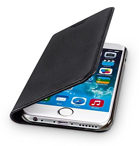 WIIUKA Echt Ledertasche -TRAVEL- für Apple iPhone 6S und iPhone 6 mit Kartenfach, extra Dünn, Tasche Schwarz, Leder Hülle kompatibel mit iPhone 6/6S