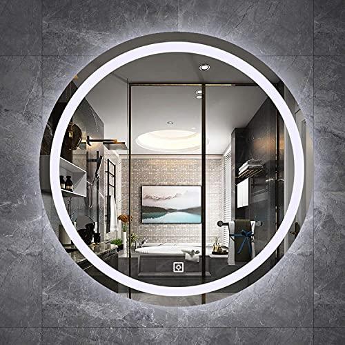 LZQHGJ YAWEN Ronda de Espejo de baño iluminada, con función de atenuación y 3 Colores de luz, Espejo de Maquillaje de tocador montado en la Pared a Prueba de Polvo Anti-Niebla, múltiples Opciones