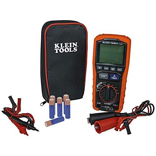 Klein Tools ET600 Megohmmeter, Insulation Resistance Tester Multimeter, 4000 Megohm Resistance, 125V/250V/500V/1000V Test Voltage