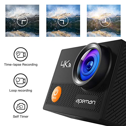 APEMAN A77 Action Camera 4K WiFi Web Cam 20MP Sports Cam 30M Waterproof Underwater Camcorder with 2.4G Remote Control and 20 Accessories Kits