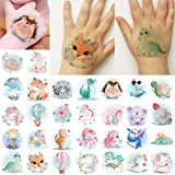 glaryyears 30 Sheets Watercolor Animals Temporary Tattoo Stickers for Kids, Cartoon Unicorn Flamingo Dinosaur for Girls Boys Children,Waterproof Fake Tattoos on Face Hand Arm Party Favor Body Art