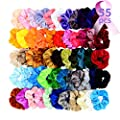 Chloven 55 Pcs Premium Velvet Hair Scrunchies Elastics Bobbles Hair Bands Scrunchy Hair Ties Ropes Scrunchie for Women Girls Hair Accessories