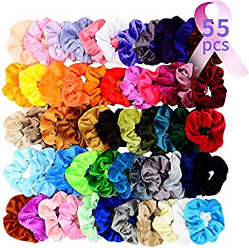 Chloven 55 Pcs Premium Velvet Scrunchies Elastics Bobbles Hair Bands