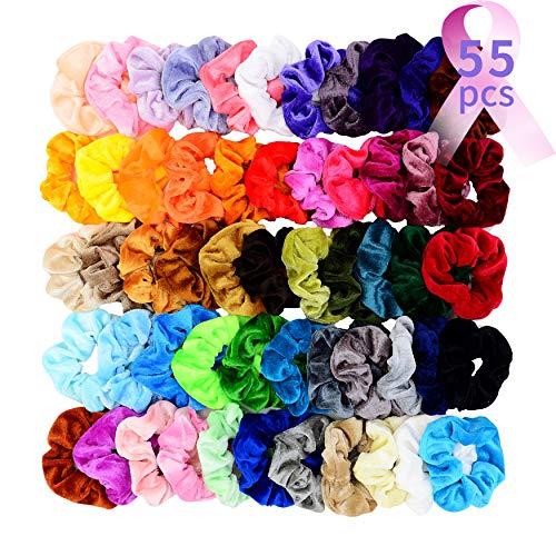 Chloven 55 Pcs Premium Velvet Hair Scrunchies Elastics Bobbles Hair Bands Scrunchy Hair Ties Ropes Scrunchies for Women Girls Accessories