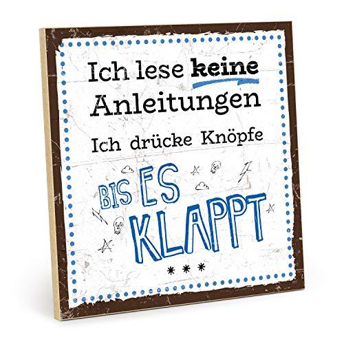 TypeStoff Placa de madera con texto en inglés – Instrucciones – estilo vintage con cita para regalo y decoración temática divertida e instrucciones (tamaño: 19,5 x 19,5 cm)