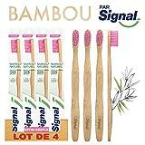 Signal Brosse à Dents Manuelle Bambou 100% Naturel Extra Souple - Lot de 4