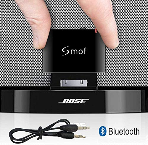 Smof Premium Adattatore Bluetooth 30 pin per Sounddock, Ricambio per iPod/Telefono Connetti ad Bose/JBL/Auto, Ricevitore Audio Wireless 3,5 mm AUX