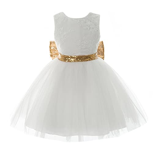 Inlefen Girls Bowknot Lace Princess Gonna Paillettes Estate Abiti per Bebè  Bambini 0-5 Anni d7ef4a3f7a3