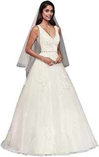 Mikado and Tulle V-Neck Ball Gown Wedding Dress Style WG3877