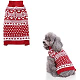 Kohza Dog Jumper Sweater with Colorful Stripes and Snowflakes Warm Winter Clothes Coat Cartoon Winter Warm Puppy Cat Dog Clothes Knitwear (Red elk, L Chest:14.17inch)